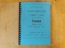 Commer Q4. 3 ton lorry. Spare parts list.